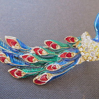 Vintage Peacock Brooch Enamel and Rhinestone