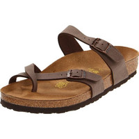 Birkenstock Womens Mayari Cracked Faux Leather Thong Sandals