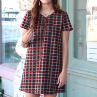 School Girl Plaid + Leather Lace Up Dress {Red Mix}