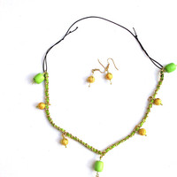 Necklace Choker Chartreuse- Woven Leather & Gold Link Chain with Chartruese and Gold Bead drops on a  Black Nylon Chord