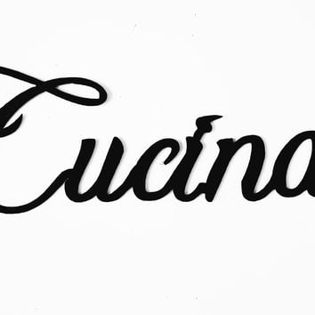 Cucina Kitchen Word Home Decor Metal Wall Art