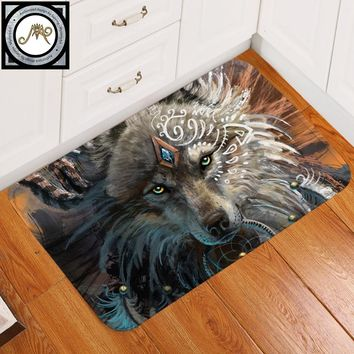 Wolf Warrior by SunimaArt Bath Rugs Non-slip Soft Area Rug for Living Room Indian Wolf With Dreamcatcher Doormats Outdoor tapete