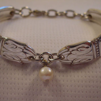 A Beautiful Spoon Bracelet Danish Princess Pattern With Pearl Bead Vintage Spoon and Fork Jewelry b55
