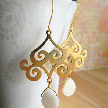 Antiqued Gold Chandelier Dangle Earrings w/ Mother of Pearl Teardrop ByLolaB