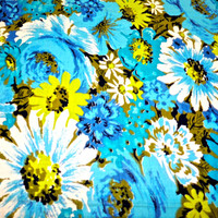 vintage blue mod daisy fabric BTY 2 available