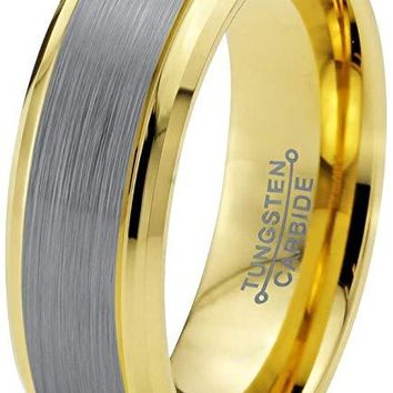 Bazyli Yellow Gold Tungsten Wedding Band Grey Brushed Polished Comfort Fit and Step Edges - 6mm