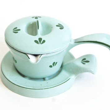 Vintage Cast Iron Dru Holland Butter Warmer, Mint Green Mini Saucepan with Pour Spouts
