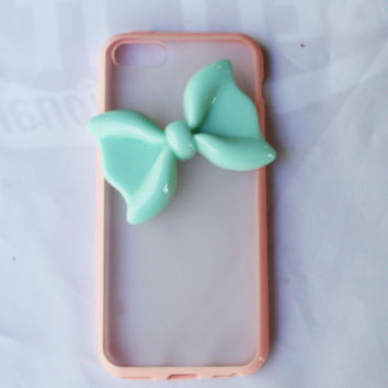 Durable  pink  protective iphone 5c  bow case bow cover bow shell