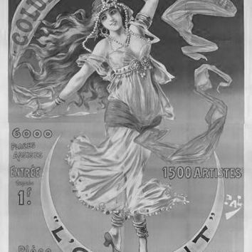 """Vintage Showgirl Advertising Poster Black and White Poster 24""""x36"""""""