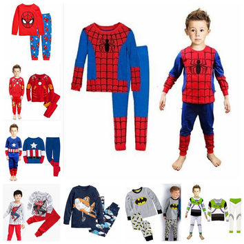 New Baby Wear spider-man Pyjamas Pijamas Children's Cartoon Batman Pajamas Boys Printed Sleepwears Clothing sets