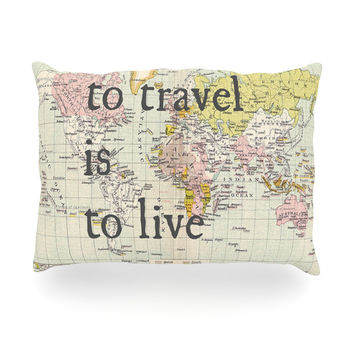"Catherine Holcombe ""To Travel Is To Live"" Color Map Oblong Pillow"