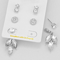 Leaf Earring Set Silver