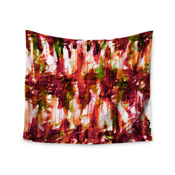 "Ebi Emporium ""White Noise 2"" Maroon Green Wall Tapestry"