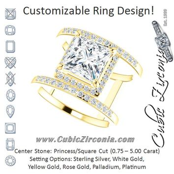 Cubic Zirconia Engagement Ring- The Jersey (Customizable Princess/Square Cut Halo Design with Open, Ultrawide Harness Double-Pavé Band)