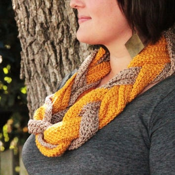 Crochet Mustard and Taupe Braided Cowl Infinity Scarf