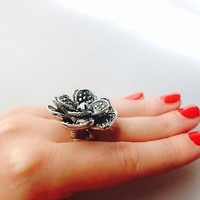 Beautiful Vintage Style Karma Marcasite Silver Flower Ring