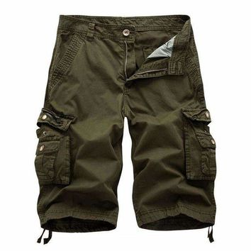 ONETOW Summer 2017 Men Shorts Casual Men's Fashion Cargo Shorts Male Army workoutshort Homme Cotton big pocket Shorts mensshortspant 38
