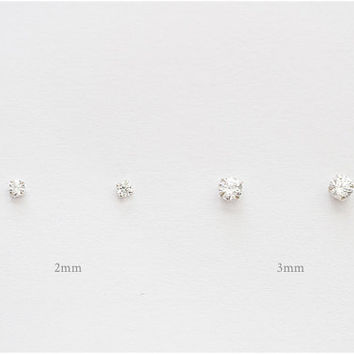 2mm & 3mm cz earring Set, CZ Earrings, CZ Stud Earrings, Cubic Zirconia, crystal earrings, bridesmaid gift, bridesmaid earrings