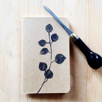 Pocket Journal Hand Printed Moleskine Cahier, Botanical Print, Woodland Linocut