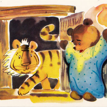 Postcard Illustration by Sorokina (A. A. Milne - Winnie-the-Pooh) no.6 - 1976. Fine Arts, Moscow