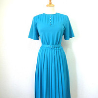 Vintage 80s Dress, Pleated dress Aqua blue Medium
