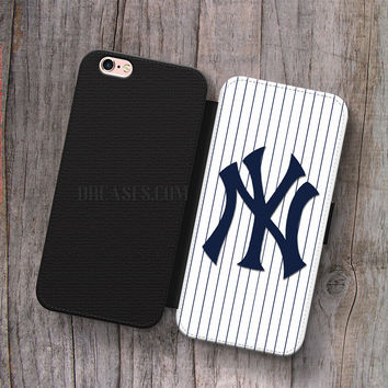 Wallet Leather Case for iPhone 4s 5s 5C SE 6S Plus Case, Samsung S3 S4 S5 S6 S7 Edge Note 3 4 5 New York Yankees Cases