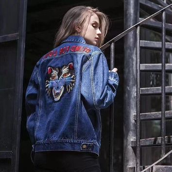 Gucci:Women Embroidery The tiger Floral Chaqueta