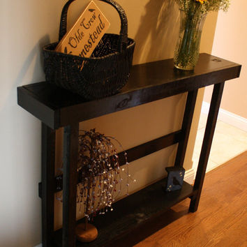 Beautiful Primitive Look Sleek Black SOFA Table Custom Made Sizes To Order Different Colors Upon Request