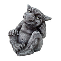 Gargoyle with Coy Grin Sitting Figurine Statue 5 2/3H