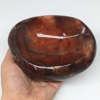 "1282g,5.8""x4.4""x2.4"" Natural Red Carnelian Bowl Plate Dish Gemstones Dish, B1425"