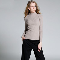 2016 fashion women turtleneck bottoming pullover elastic knitted women's winter autumn sweater black khaki claret color