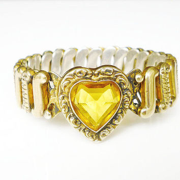 Heart Expansion Bracelet Amber Yellow Glass Gold Filled Embossed Vintage Sweetheart Jewelry