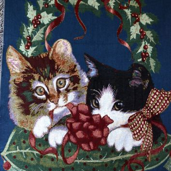 Tache Kitty's First Christmas Tapestry Throw 50 x 60 (1366)