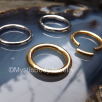 "12g Gold Septum Segment Ring 10g 1/2"" Silver Ear Nose Hoop Nipple Seamless Rings Body Jewelry Cartilage Earrings 12mm Piercings Pierced Ears 