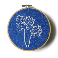 Blue Flower Embroidery Hoop / Bright Floral Summer 5 inch Hoop Home Decor
