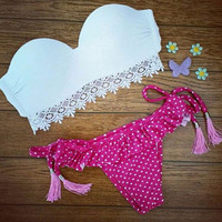 SIMPLE - Lace Sexy Two-Piece Dot Swimwear Bikini Set a11232