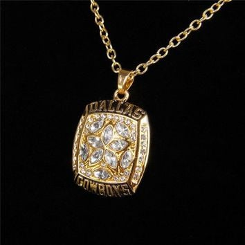 Hot Sell Sport Jewelry Dallas Cowboys Championship Pendants Necklace Crystal Star Jewelry For Men Women Fans Party Gift