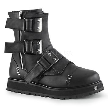 Valor 150 Black Vegan Leather Shield Guard Ankle Boot