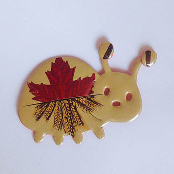 Beige cream Ladybug Magnet made from Molson Canadian Wheat beer can  - soda can magnet - gift idea - upcycled gift  - animal fridge magnet