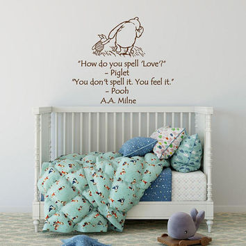 Winnie The Pooh & Piglet Wall Decal Quote How Do You Spell Love - Baby Room Wall Decals Milne Quotes Vinyl, Winnie The Pooh Sayings K168