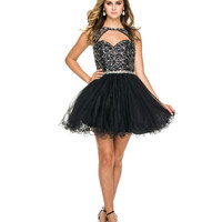 Black Embellished Cutout Tulle Dress 2015 Homecoming Dresses