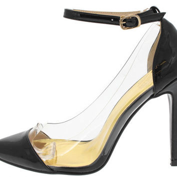 VENIBY13 BLACK LUCITE CLEAR WINDOW POINTED TOE HEEL