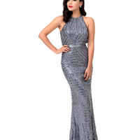 1930s Style Silver Sequin Halter Sheer Back Gown