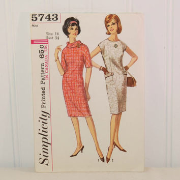 Vintage Simplicity 5743 Chic Dress Pattern (c. 1964) Misses' Size 14, Bust Size 34 Inches, Stylish, Retro, One-Piece Dress, Knee Length