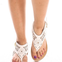 Cut Out Sandal - White