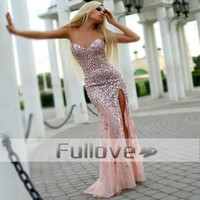 Sexy Crystal Pink Tulle Long Prom Dresses 2016 Sweetheart High Slit  Rhinestones Mermaid Party Gowns Vestido De Baile Caftan