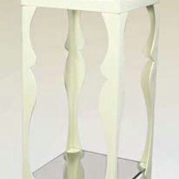 Ivory finish metal plant stand with glass top and shelf