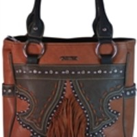 Montana West Concealed Carry Purse Bling Western Style Handbag Fringe and Studs - Faux Leather Available in Choice of Colors