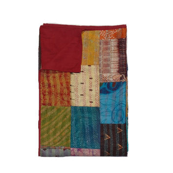 Twin Size Vintage Silk Sari Kanth Patchwork Quilt Sari Patchwork Kantha Throw In Multi Color
