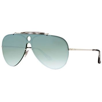Kalete Ray Ban Blaze Shooter RB3581N 003/30 Silver Dark Green Mirror Aviator Sunglasses